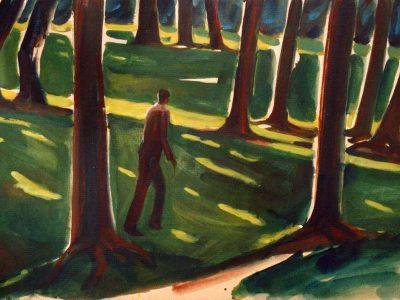 Parcs bruxellois1 | Au bois de la cambre en août 2004, 50:70cm, acrylique sur carton